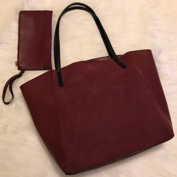893f73f2d91 Nordstrom Bags   Bp Colorblock Faux Leather Tote In Burgundy   Poshmark